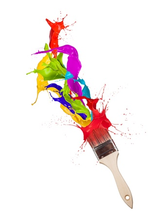 color mixing: Colored paint splashes splashing from paintbrush on white background Stock Photo