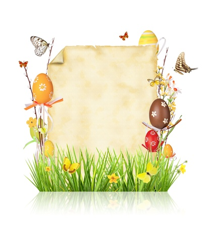 Easter concept with empty paper, isolated on white background photo