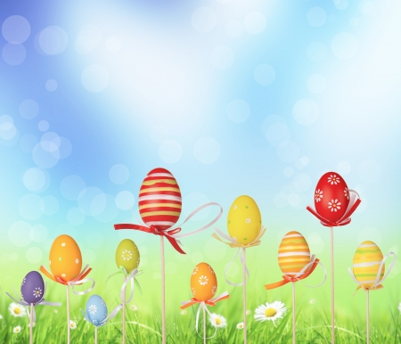 Happy Easter eggs in meadow photo