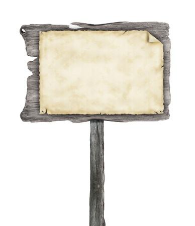 señal transito: Signo de madera vacía con el papel en blanco, aislados en fondo blanco