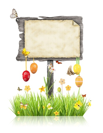 Empty wooden board with Easter motives, isolated on white background photo