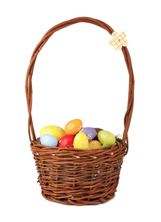 easteregg: Easter basket with colored eggs, isolated on white background