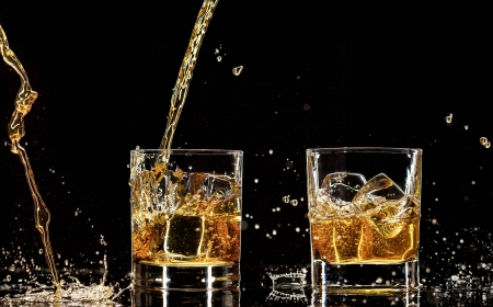 Alcohol drinks with splashes, isolated on black background Stock Photo - 17695350