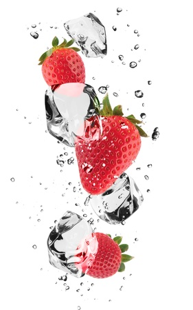 frozen fruit: Strawberries with ice cubes, isolated on white background