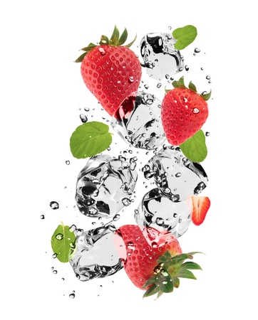 Strawberries with ice cubes, isolated on white background photo