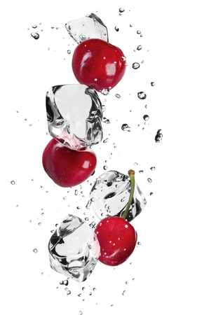 Fresh cherries with ice cubes, isolated on white background Stock Photo - 17901155