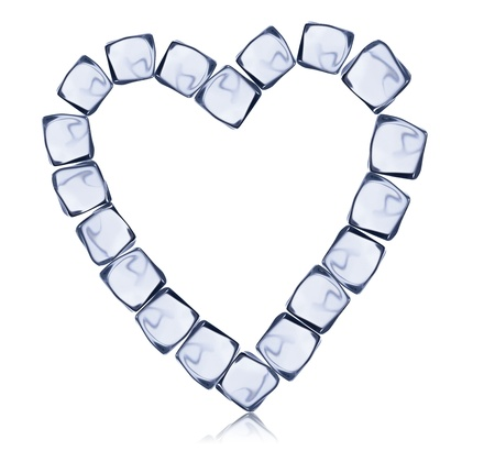 Heart symbol made of ice cubes, isolated on white background Stock Photo - 17901197
