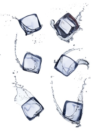 ice surface: Collection of ice cubes with water splash, isolated on white background