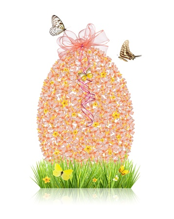 Concept of spring with easter egg made of small ribbons, isolated on white background Stock Photo - 18034348