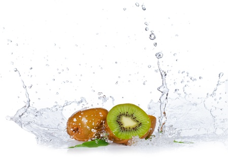 Fresh kiwis with water splash, isolated on white background photo