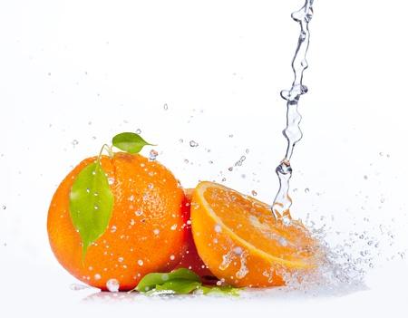 naranjas fruta: Naranjas frescas con el chapoteo del agua, aisladas sobre fondo blanco