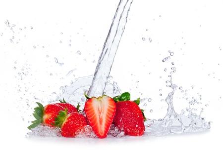 strawberry splash: Fresh strawberries with water splash, isolated on white background