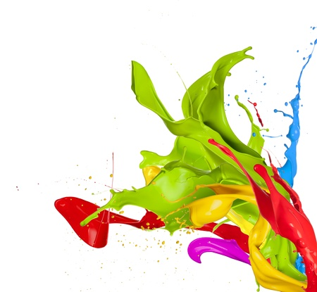 Barwne plamy w abstrakcyjny kształt, na białym tle