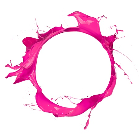 pink bubbles: Circle of pink paint with free space for text, isolated on white background
