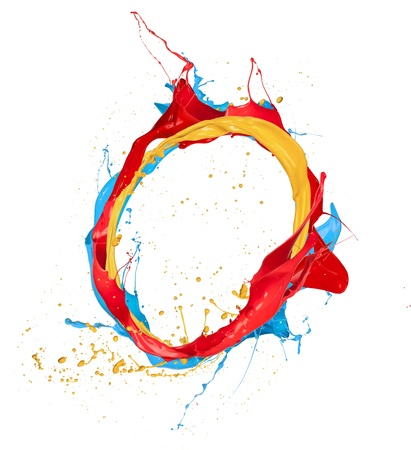 3d circle: Colored paints splashes circle, isolated on white background