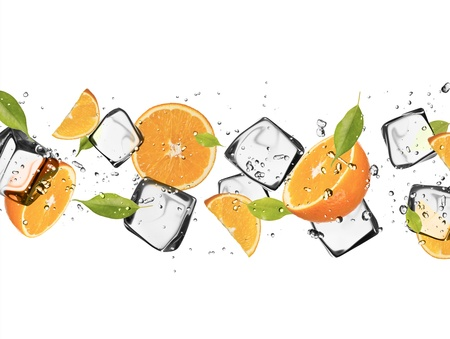 Oranges with ice cubes, isolated on white background Stock Photo - 18286513
