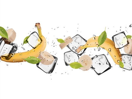 Bananast with ice cubes, isolated on white background photo