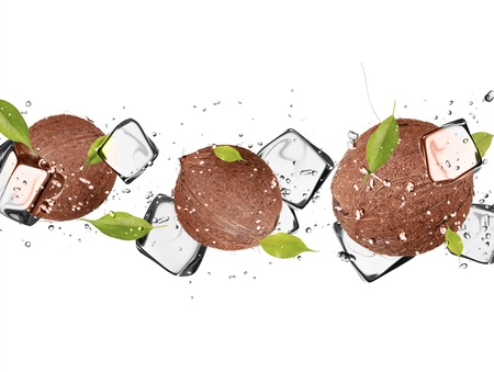 Coconut with ice cubes, isolated on white background photo