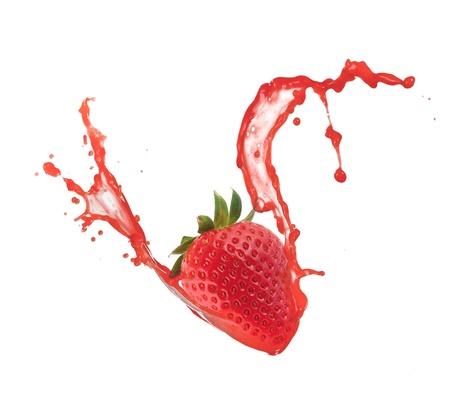Strawberry in splash, isolated on white background Stock Photo