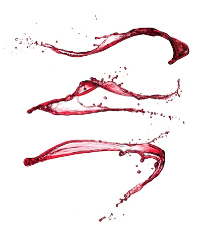pouring water: Red wine splashes isolated on white background