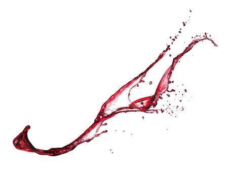 red wine pouring: Red wine splash isolated on white background