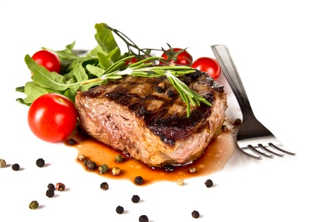 medium: Beef steak medium grilled, isolated on white background