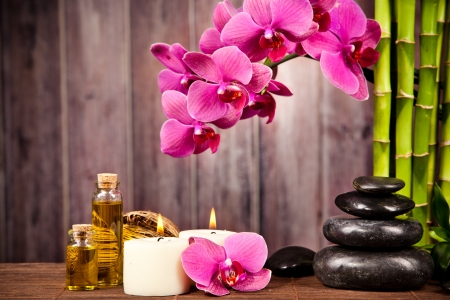 aromatherapy oils: Spa still life with free space for text