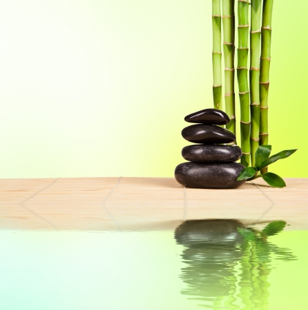 zen water: Spa still life with lava stones and bamboo sprouts with free space for text Stock Photo