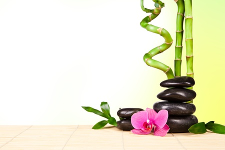 Spa still life with lava stones and bamboo sprouts with free space for text photo