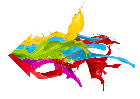 Colored splashes arrow design, isolated on white background photo