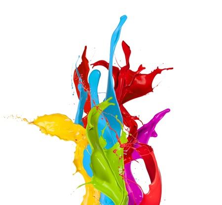 Farbige Farbspritzer auf weißem Hintergrund Standard-Bild - 18529104