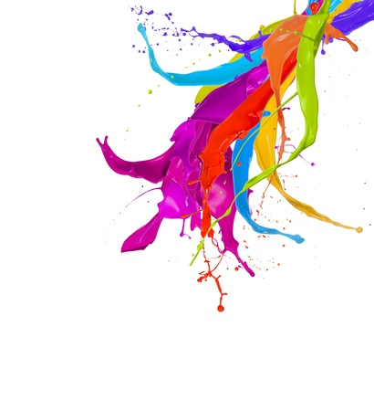 rainbow colors: Colored paint splashes isolated on white background