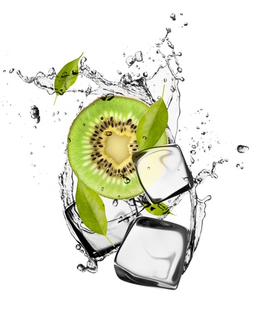 frozen solid: Kiwi with ice cubes, isolated on white background
