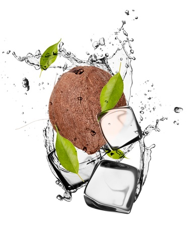 Coconut with ice cubes, isolated on white background Stock Photo - 18529127