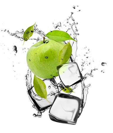 frozen drink: Green apple with ice cubes, isolated on white background Stock Photo