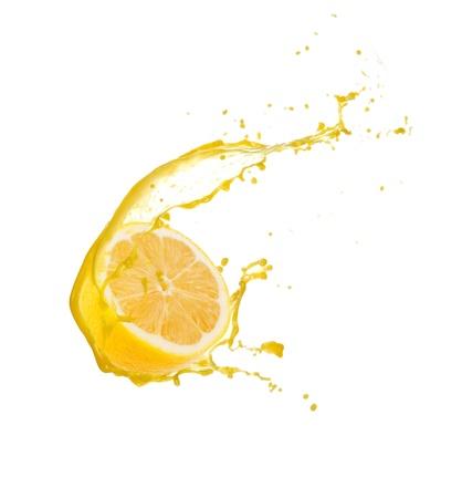 lemon water: Lemon slice with splash, isolated on white background