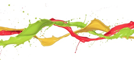 paint drip: Colored paint splashes isolated on white background