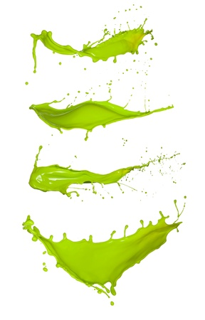 green ink: Shot of green paint splashes, isolated on white background
