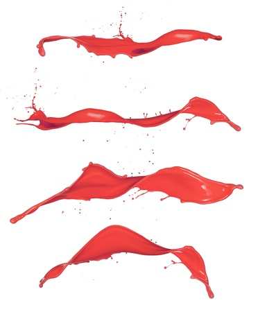 Shot of red paint splashes, isolated on white background Stock Photo - 18585707