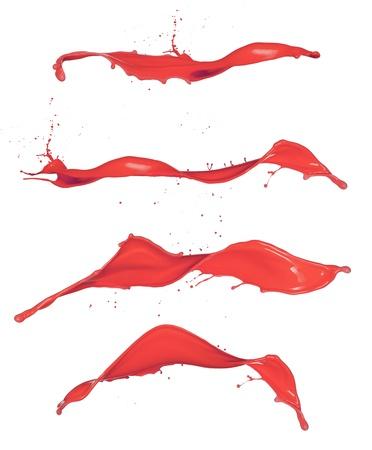 paintbrush spray: Shot of red paint splashes, isolated on white background