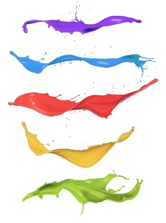 Colored paint splashes isolated on white background Stock Photo - 18585698