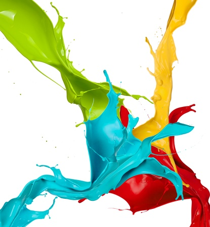 paint drop: Colored splashes in abstract shape, isolated on white background
