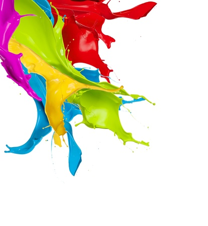 barvy: Barevné šplouchá na abstraktní tvar, izolovaných na bílém pozadí