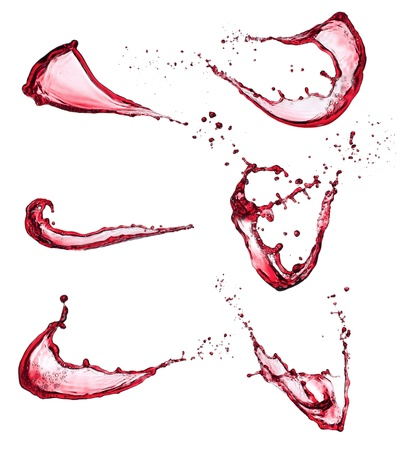 wine red: Red wine splashes isolated on white background