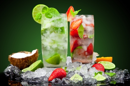 mojito: Fruit cocktail with dark background Stock Photo