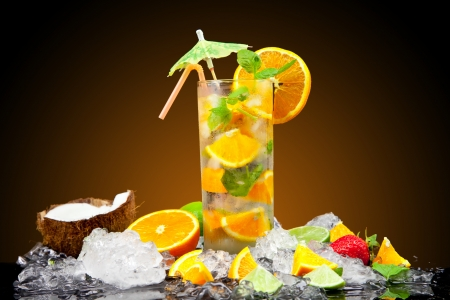 Fruit cocktail with dark background Stock Photo