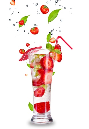 Strawberry mojito drink with falling strawberries, isolated on white background photo