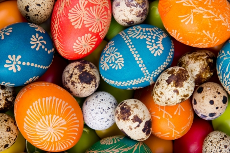 handicraft: Easter hand painted colored eggs