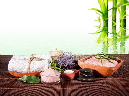day spa: Spa still life with bamboo background Stock Photo