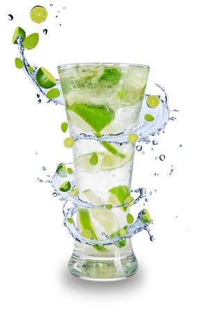 Fresh mojito drink with splash spiral around glass. Isolated on white background Stock Photo - 19554314